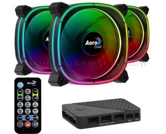 Aerocool Astro12 Pro 3x12cm ARGB Led Fan + Hub + Uzaktan Kumanda (AE-ASTR12-PRO)