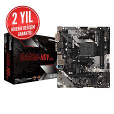 Asrock B450M-HDV R4.0 Socket AM4, DDR4 3200MHz+ (OC), Ultra M.2, USB 3.1 Gen1, HDMI, DVI, VGA mATX Anakart (ASRB450M-HDVR4)
