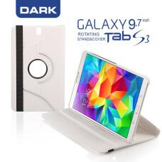 """Dark Samsung Tab S3 9.7"""" (T820) Uyumlu 360° Dönebilen Beyaz Stant ve Deri Kılıf (DK-AC-SMKRT820WH)"""