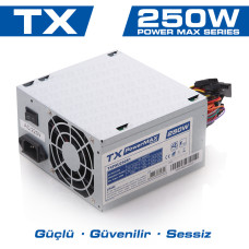 TX PowerMAX 250W 2xSATA, 2xIDE Bilgisayar Güç Kaynağı (TXPSU250S1)